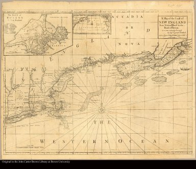 A map of the coast of New England from Staten Island to the Island of Breton /|cas it was actualy survey'd by Capt. Cyprian Southack