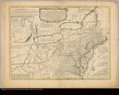 A general map of the middle British colonies in America viz. Virginia, Maryland, ... of Aquanishuonigy ... of the Lakes Erie ... and of part of New France ... by Mr. Lewis Evans, with some improvements by I. Gibson