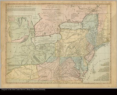 Bowles's new one-sheet map of the independent states of Virginia, Maryland, Delaware, Pensylvania, New Jersey, New York, Connecticut, Rhode Island, &c. comprehending also the habitations & hunting countries of the confederate Indians by Lewis Evans