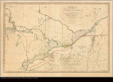 A map of the province of Upper Canada describing all the new settlements, townships, &c., with the countries adjacent, from Quebec to Lake Huron : compiled at the request of His Excellency Major General John G. Simcoe, First Lieutenant Governor /|cby David William Smyth, Esqr., Surveyor General