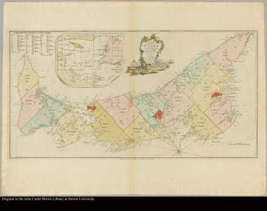 A plan of the Island of St. John with the divisions of the counties parishes, & the lots as granted by government, likewise the soundings round the coast and harbours Survey'd by Capt. Holland, 1775