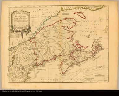 A new map of Nova Scotia, and Cape Britain with the adjacent parts of New England and Canada, composed from a great number of actual surveys; and other materials regulated by many new astronomical observations of the longitude as well as latitude; with an explanation