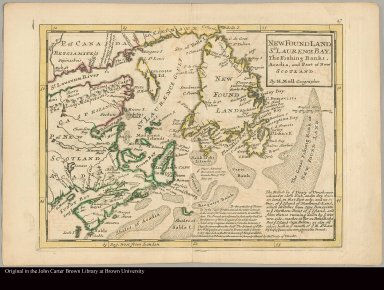 New Found Land, St. Laurence Bay, the fishing banks, Acadia, and part of New Scotland by H. Moll, geographer
