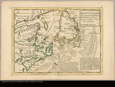 A description of the Bay of Fundy shewing ye coast, islands, harbours, creeks, coves, rocks, sholes, soundings & anchorings &c observed by Nat. Blackmore in ye years 1711 and 1712 by Her Majesties special command