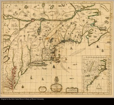 A map of ye English empire in ye continent of America viz Virginia, Maryland, Carolina, New York, New Iarsey, New England, Pennsilvania