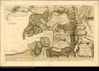 A large and particular plan of Shegnekto bay, and the circumjacent country, with the forts and settlements of the French 'till dispossess'd by the English in June 1755 drawn on the Spot by an officer