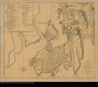Plan de la position de l'armée française au tour de Newport dans Rhode jsland et du mouillage de l'escadre dans la rade de cette ville