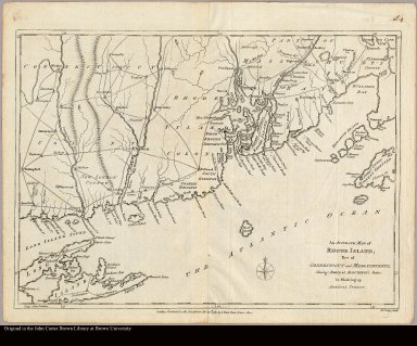 An accurate map of Rhode Island, part of Connecticut and Massachusets [sic] showing Admiral Arbuthnot's station in blocking up Admiral Ternay Jno. Lodge sculp.