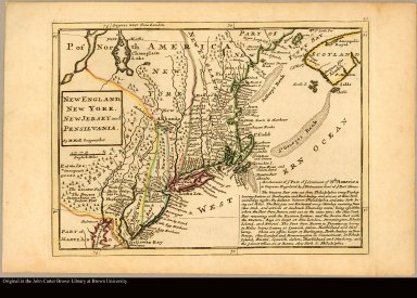 New England, New York, New Jersey and Pensilvania by H. Moll, Geographer