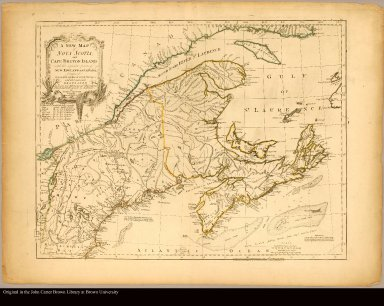 A new map of Nova Scotia, and Cape Breton Island with the adjacent parts of New England and Canada, composed from a great number of actual surveys; and other materials regulated by many new astronomical observations of the longitude as well as latitude /|cby Thomas Jefferys, geographer to the King