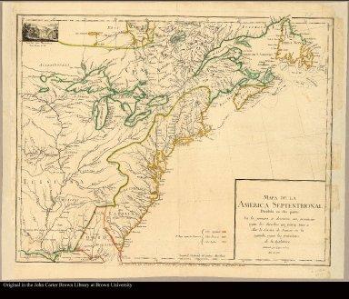 Mapa de la America Septentrional dividido en dos partes delineado por Lopez y Cruz. Año de 1755