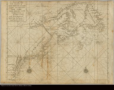 A chart of the sea coast of New Found Land, New Scotland, New York, New Jersey with Virginia and Maryland and New England
