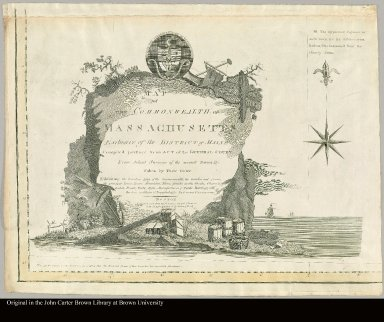 [cartouche to a map of Massachusetts]