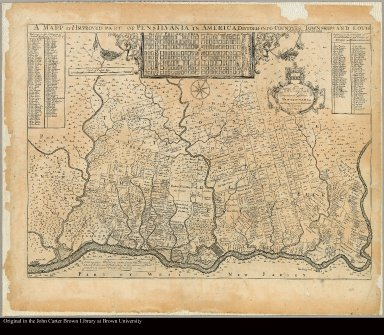 A mapp of ye improved part of Pensilvania in America, divided into countyes, townships, and lotts Surveyed by Tho: Holme