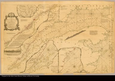 An exact chart of the River St. Lawrence, from Fort Frontenac to the Island of Anticosti shewing the soundings, rocks, shoals &c with views of the lands and all necessary instructions for navigating that river to Quebec