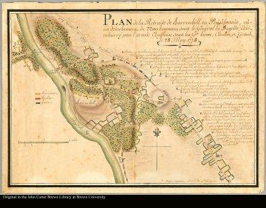 Plan de la Retraite de Barrenhill en Pensilvanie òu un detachement de 2200 hommes, sous le Général la Fayette, étoit entourée par l'armée Angloise sous les Gx. Howe, Clinton, et Grant, le 28 Mai 1778 / [signed:] Major Capitaine aid. d. C. du Gl La Fayette