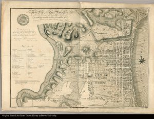 This plan of the City of Philadelphia and its environs, (shewing the improved parts,) is dedicated to the mayor, aldermen and citizens thereof, by their most obedient servant John Hills, surveyor and draughtsman. May 30th. 1796