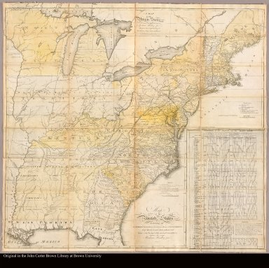 Map of the United States exhibiting the post-roads, the situations, connections & distances of the post-offices, stage roads, counties, ports of entry and delivery for foreign vessels, and the principal rivers by Abraham Bradley junr