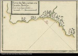 Fuerte de San Pedro y su rada en la Ysla de la Martinica.