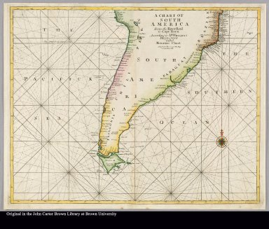 A chart of South America from the River Real to Cape Horn according to Mr. Wright's projection called Mercator's chart
