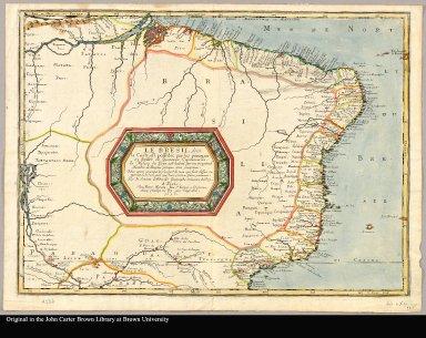 Le Bresil, dont la coste est possedée par les Portugais et divisée en quatorze capitanieries le milieu du pays est habité par vn tresgrand nombre de peuples presque tous jncogneus : nous avons remarqué la plus part de ceux qui sont dessus, ou approcha[n]t de la coste, encor que leurs positions soient jncertaines / par N. Sanson d'Abbeville, geographe ordinaire du roy