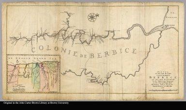 Nieuwe gemeten kaart van de colonie de Berbice : met der zelver plantagien en de namen der bezitters in het ligt gebragt door Reiner & Iosua Ottens kaartverkopers te Amsterdam 1740