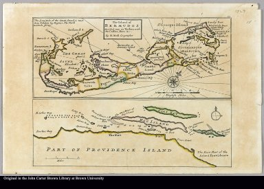 The island of Bermudos, divided into its tribes, with the castles, forts, &c. Part of Providence Island by H. Moll geographer