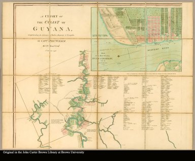 [upper left: Map of Guyana including the title and an inset of Georgetown. Also includes list of proprietors and estates]