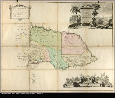 To the Right Honorable George Grenville Esqr. First Lord Commissioner of the Treasury ... this map of the County of Surry in the Island of Jamaica (laid down from the papers and under the direction of Henry Moore Esqr. His Majesty's Lieutenant, Governor ... of that Island in the Years 1756, -57, -58, -59, -60 & 61 & from a great number of actual surveys performed by the Publishers) is humbly inscribed by Thos. Craskell Engineer, Jas. Simpson, Surveyor
