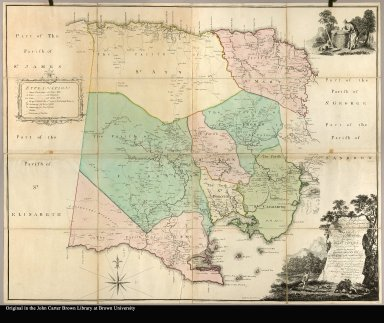 To the Right Honorable Wills, Earl of Hillsborough, first Lord Commissioner of Trade & Plantations, this map of the county of Middlesex in the island of Jamaica (laid down from the papers, and under the direction of Henry Moore, Esqr., His Majesty's Lieutenant Governor and Commander in Chief of that island, in the years 1756, -57, -58, -59, -60, & 61 and from a great number of actual surveys performed by the publishers) is humbly inscribed by His Lordship's most obedient & most humble servants, Thos. Craskell, engineer, Jas. Simpson, surveyor