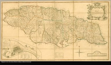 A new map of Jamaica in which the several towns, forts, and settlements, are accurately laid down as well as ye situations & depts of ye most noted harbours & anchoring places, with the limits & boundarys of the different parishes ... the greatest part drawn or corrected from actual surveys made by Mr. Sheffield and others by Patrk. Browne With corrections & improvements, up to Jany. 1797