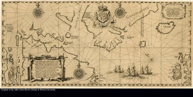 Tabula nautica, qua repraesentantur orae maritimae meatus, ac freta, noviter a IHudsono Anglo ab Caurum suprae Novam Franciam indagatta Anno 1612