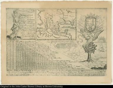 Mapa y Tabla Geografica de Leguas comunes, que ai de unos à otros Lugares, y Ciudades principales de la America septentrional