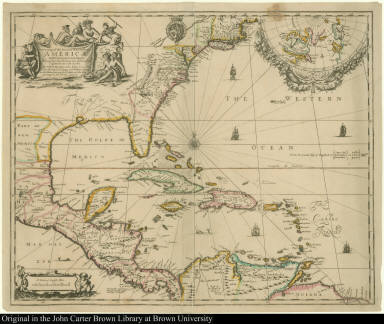 A New Map of the English Plantations in America, both Continent and Ilands, Shewing their true Situation and distance, from England or one with another
