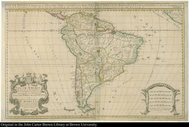 South America Divided into its Principall Parts where are distinguished the severall States which belong to the Spanish, English, Portugals, and French