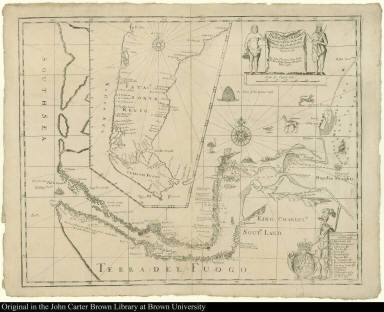 A New Mapp of Magellan Straights Discovered by Capt. John Narbrough (Com[m]ander then of his Majesties Ship the Sweepstakes.) as he sayled through the sade Straights.
