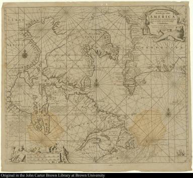Pascaarte vande Noorder Zee custen van America, Vande West-hoeck van Ysland doorde Straet Davis en Hudson, tot aen Terra Neuf