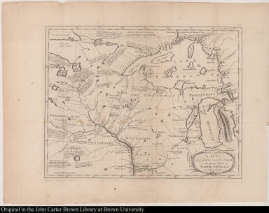 A Plan of Captain Carvers Travels in the interior Parts of North America in 1766 and 1767.
