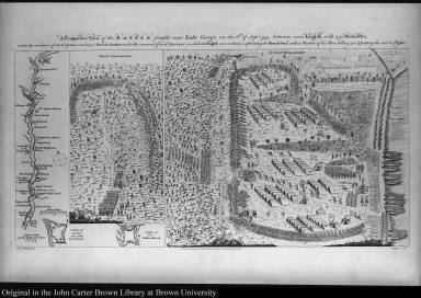 A Prospective View of the Battle fought near Lake George, on the 8th. of Sepr. 1755, between 2000 English with 250 Mohawks ...