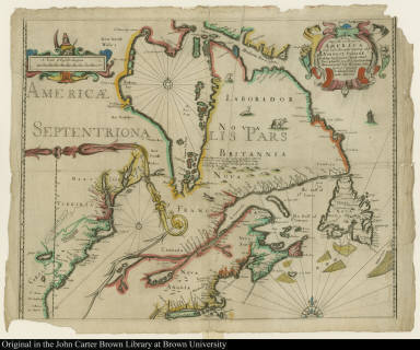 A New Mapp of the north part of America from Hudson Straights commanly call'd the Norwest Passage Including Newfoundland New Scotland New England Virginia Maryland & Carolena