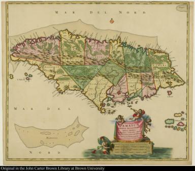 Jamaica, Americae Septentrionalis Ampla insula. Christophoro Columbo detecta