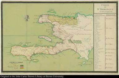 Carte de St. Domingue ou sont marqués les Paroisses Jurisdictions