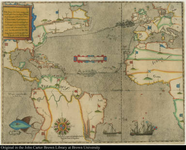 The Famouse West Indian voyadge made by the Englishe fleete of 23 shippes and Barkes wherin weare gotten the Townes of St. Iago: Sto. Domingo, Cartagena and St. Augustines ... Newlie come forth by Baptista B.