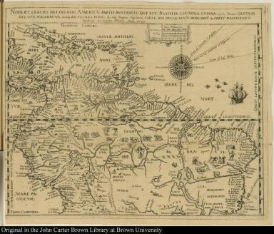 Nova et exacta delineatio Americae partis australis que est: Brasilia, Caribana, Guiana regnum Novum ...
