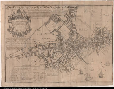 A New Plan of ye Great Town of Boston in New England in America ... to the Year. 17[33]