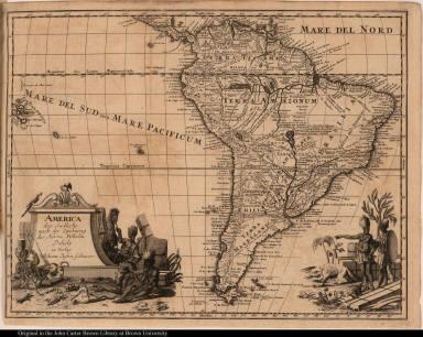 America das Südliche nach der Zeichnung des Herrn Wilhelm Delisle in Verlag Joh. Justin Gebauers.