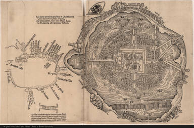[Map of Tenochtitlán and the Gulf of Mexico]