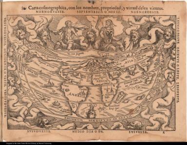 Carta cosmographica, con los nombres, propriedad, y virtud delos vientos.