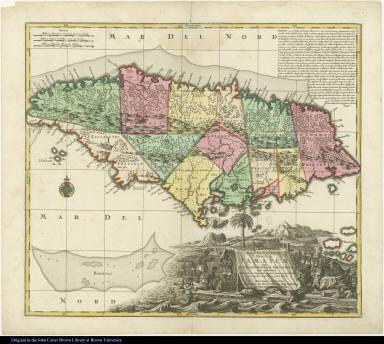 Nova Designatio Insulae Jamaicae ex Antillanis Americae Septentrion. non postremae Secundum Gubernationes ...