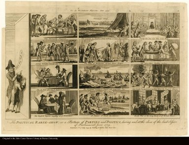 The POLITICAL RAREE-SHOW: or a Picture of PARTIES and POLITICS, during and at the close of the Last Session of Parliament. June 1779.